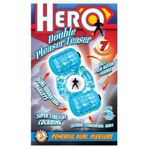 Hero Double Pleaser Teaser Cock Ring - Blue