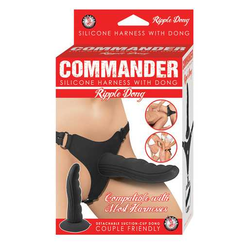 Commander Silicone Harness w/Ripple Dong - Black