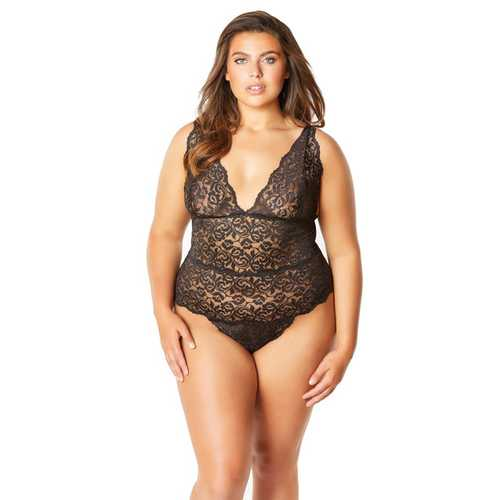 Soft Edged Galloon Lace Teddy w/Adjustable Straps & Snaps Crotch Black 2X