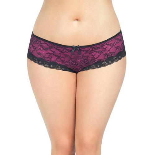 Cage Back Lace Panty Black/Hot Pink 3X/4X
