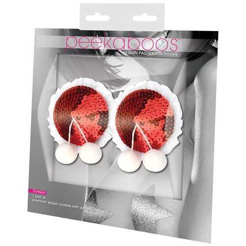 Peekaboos Sequin w/White Balls Premium Pasties - 1 Pair Red