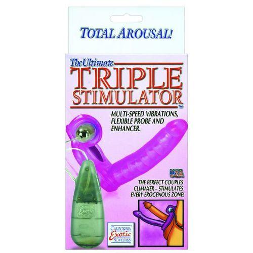 The Ultimate Triple Stimulator Flexible Dong w/Cock Ring