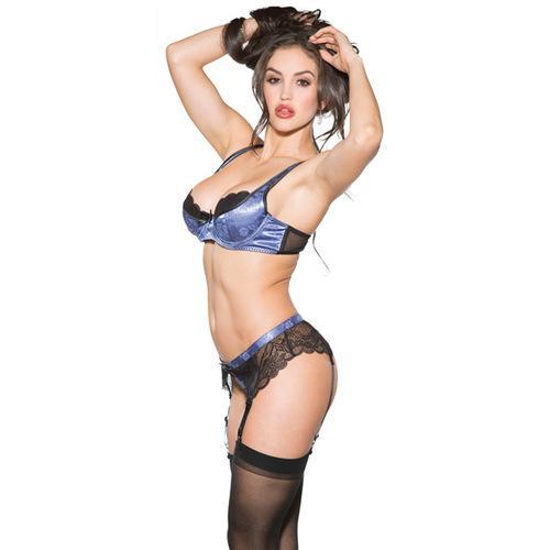 Lace & Mesh Underwire Bra, G-Belt & Thong Peri Winkle 2X