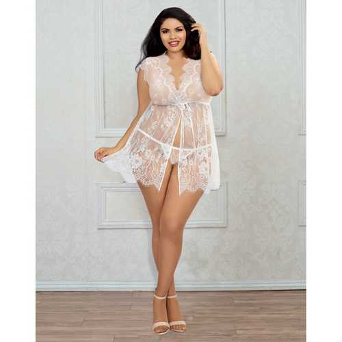 Delicate Lace Tie Up Front Babydoll w/G-String White QN