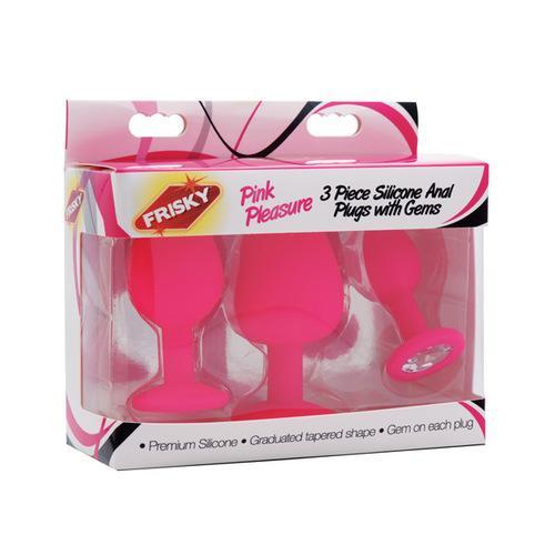Frisky Pleasure 3pc Silicone Anal Plugs w/Gems - Pink