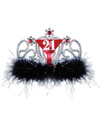 21st Birthday Flashing Tiara - Black/Red