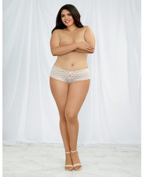 Heart Stretch Lace Panty w/Open Crotch White 2X