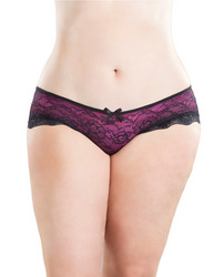Cage Back Lace Panty Black/Hot Pink S/M