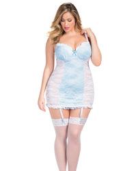 Bridal Carolina Lace Babydoll w/Contrast Satin Detail & G-String White/Blue 3X