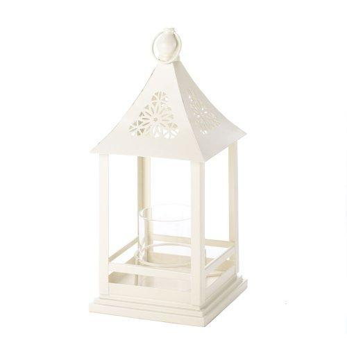 Beautiful White Floral Cutout Lantern With Glass Hurricane (pack of 1 EA)