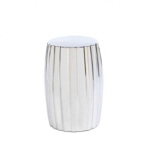 Ceramic Silver Decorative Stool (pack of 1 EA)