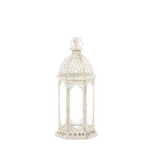 Graceful Distressed Small White Lantern (pack of 1 EA)