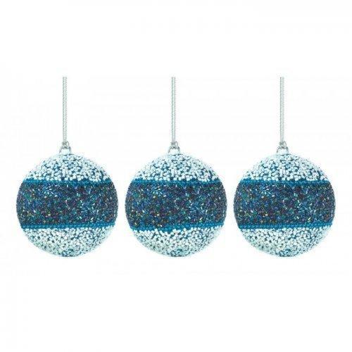 True Blue Beaded Ball Ornament Trio (pack of 1 SET)