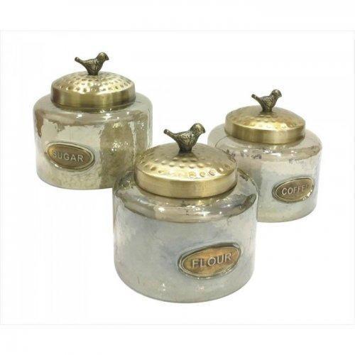 Hammered Glass Kitchen Jar Trio (pack of 1 SET)