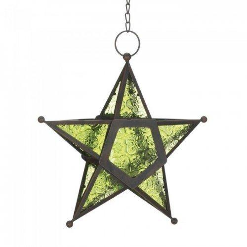 Green Glass Star Lantern (pack of 1 EA)
