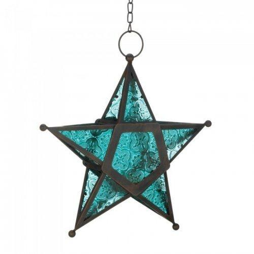 Blue Glass Star Lantern (pack of 1 EA)