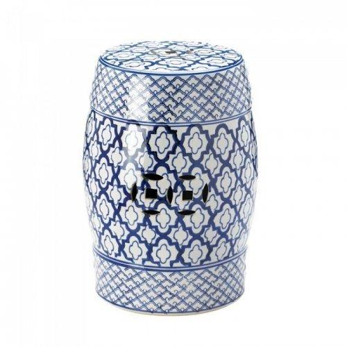 Blue And White Ceramic Decorative Stool (pack of 1 EA)