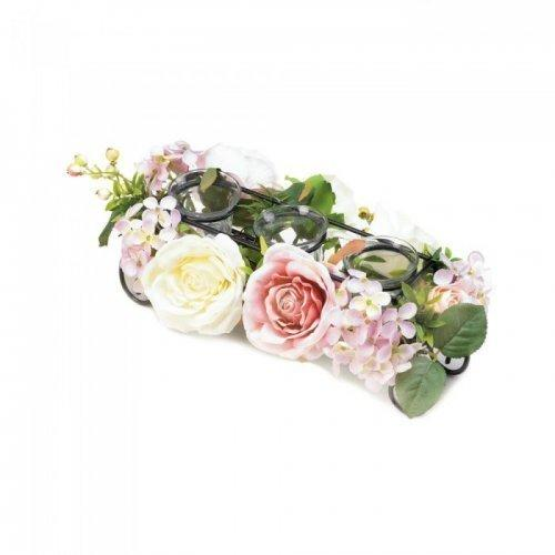 Blooming Faux Floral Candleholder (pack of 1 EA)