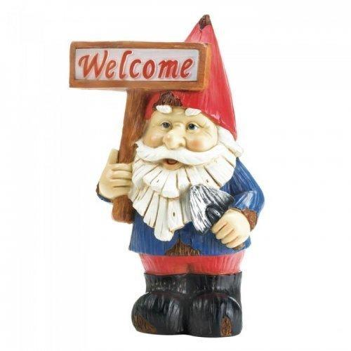Welcome Gnome Solar Statue (pack of 1 EA)