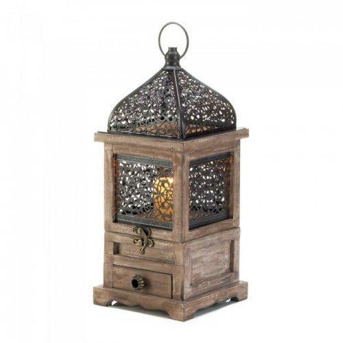 Large Flip-top Moroccan Wooden Lantern (pack of 1 EA)