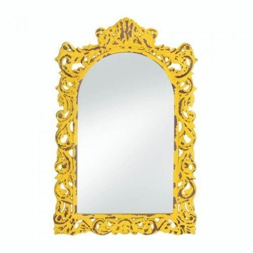 Opulent Distressed Yellow Wall Mirror (pack of 1 EA)