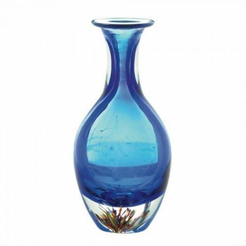 Blue Art Glass Bottleneck Vase (pack of 1 EA)