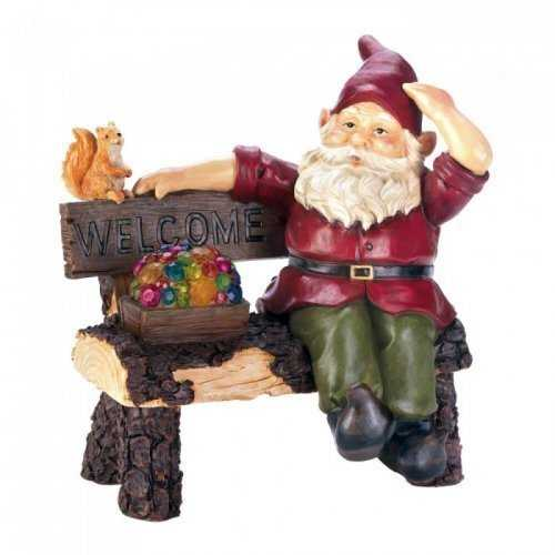 Solar Gnome On Welcome Bench (pack of 1 EA)