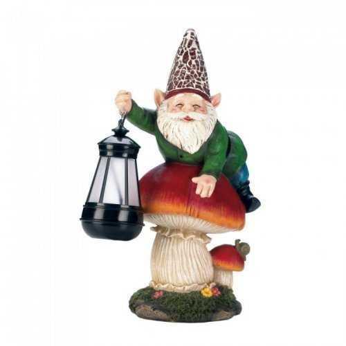 Gnome On Mushroom Solar Statue (pack of 1 EA)