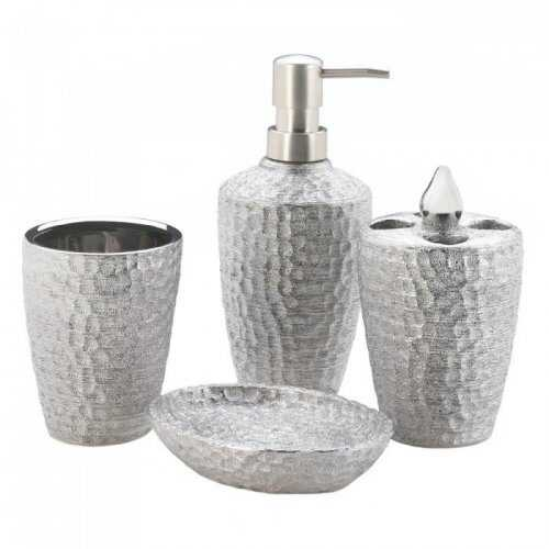 Hammered Silver Texture Bath Set (pack of 1 SET)