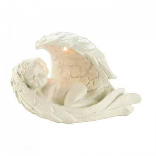 Solar Peaceful Cherub Figurine