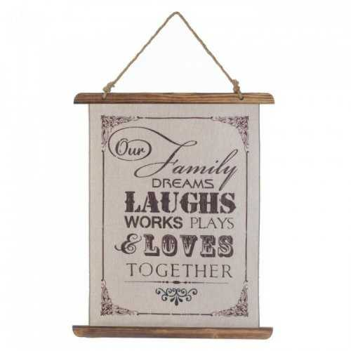 Family Laughs Linen Wall Art (pack of 1 EA)
