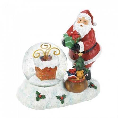 Santa And Chimney Led Snow Globe (pack of 1 EA)