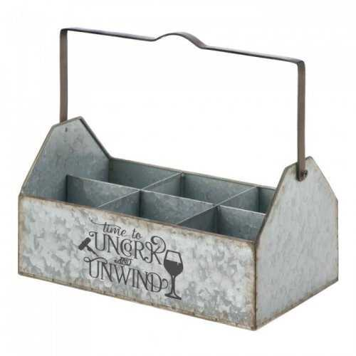 Galvanized Metal Wine Caddy (pack of 1 EA)