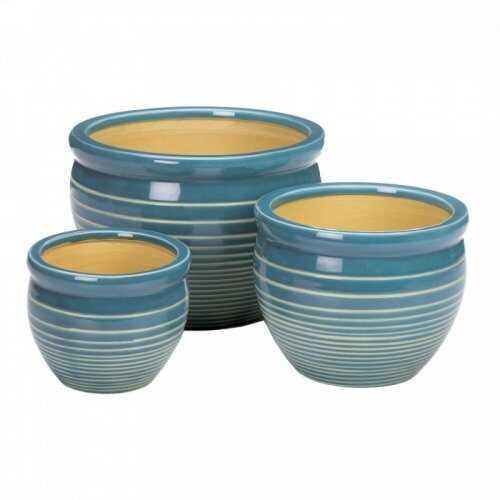 Ocean Breeze Ceramic Planter Set