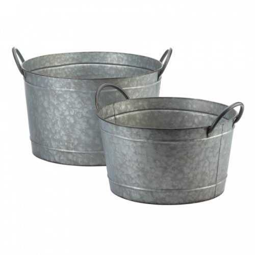 Galvanized Bucket Planter Duo