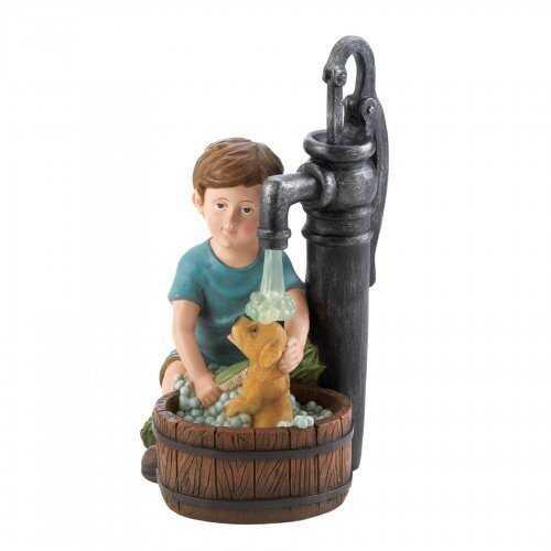 Boy And Dog Solar Garden Statue