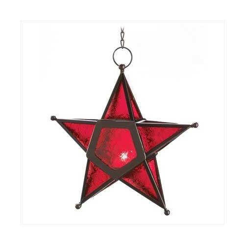 Red Glass Star Lantern (pack of 1 EA)