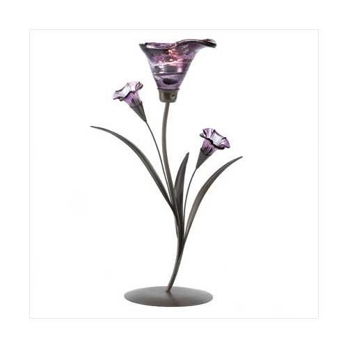 Glass Lily Tealight Candleholder