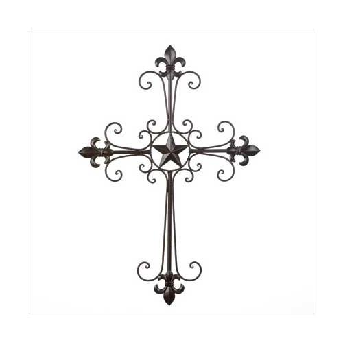Wrought Iron Fleur De Lis Wall Cross (pack of 1 EA)