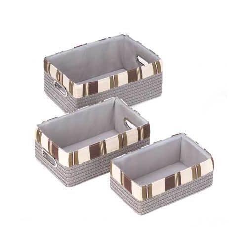Stacking Grey Striped Basket Set (pack of 1 SET)