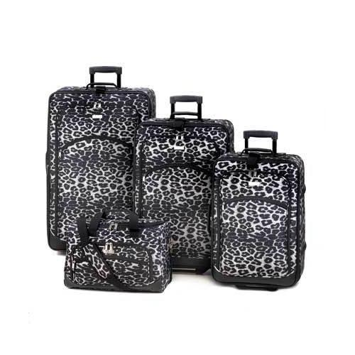 Black And White Leopard Print Luggage (pack of 1 SET)