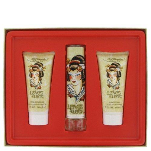 Love & Luck By Christian Audigier Gift Set 1.7 Oz Eau De Parfum Spray + 3 Oz Body Lotion + 3 Oz Bath & Shower Gel (pack of 1 Ea)