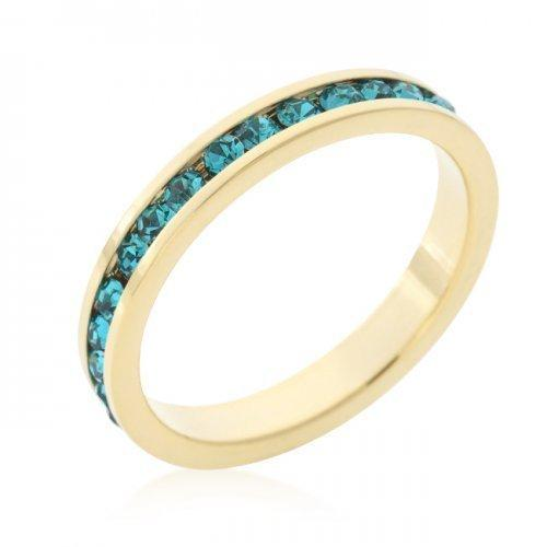 Stylish Stackables Turquoise Crystal Gold Ring (size: 05) (pack of 1 ea)