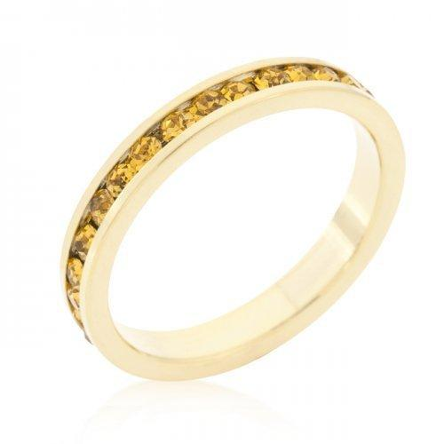 Stylish Stackables Yellow Crystal Gold Ring (size: 05) (pack of 1 ea)