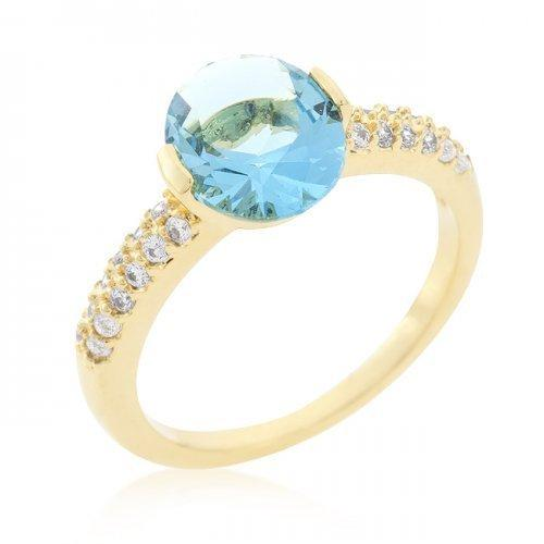 Aqua Oval Cubic Zirconia Engagement Ring (size: 05) (pack of 1 ea)