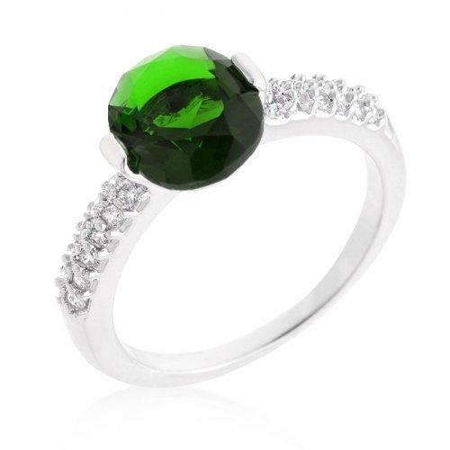 Green Oval Cubic Zirconia Engagement Ring (size: 10) (pack of 1 ea)