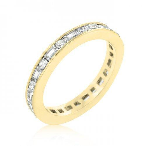 Alternating Cubic Zirconia Eternity Band In Goldtone Finish (size: 09) (pack of 1 ea)