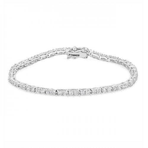 Petite Silvertone Cz Tennis Bracelet (pack of 1 ea)