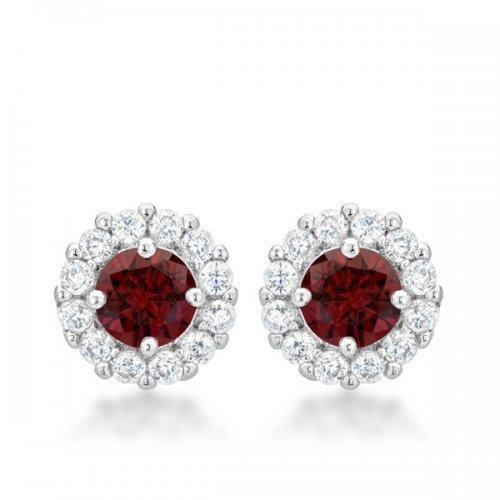Bella Bridal Earrings In Garnet Red (pack of 1 ea)