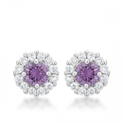 Bella Bridal Earrings In Purple (pack of 1 ea)